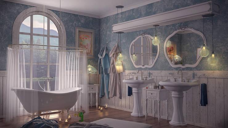 Design by Bley – Blue Bath: kırsal tarz tarz Banyo