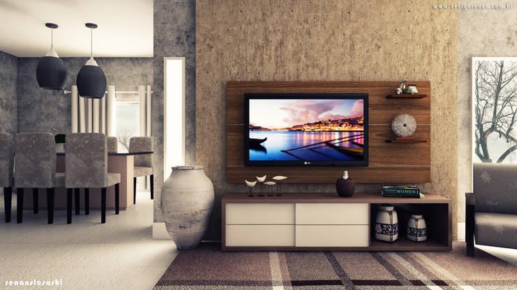 Sala 3D: Salas de estar  por Renan Slosaski