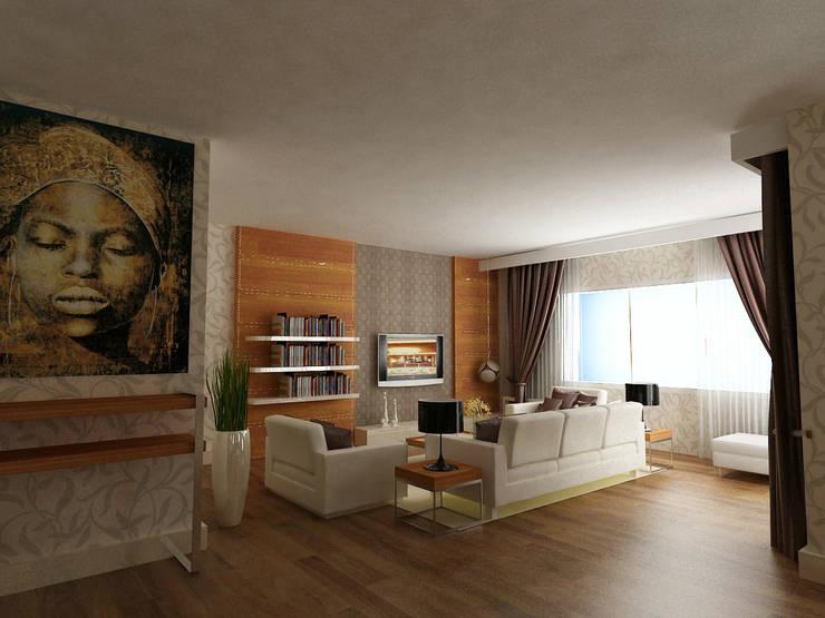 VRLWORKS – İnci Karadağ Projesi Antalya: modern tarz Oturma Odası