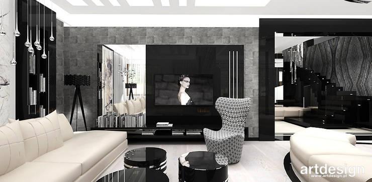 projekt salonu: styl , w kategorii Pokój multimedialny zaprojektowany przez ARTDESIGN architektura wnętrz