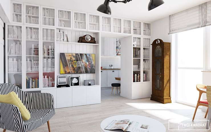 Mieszkanie Warszawa Mokotów: styl , w kategorii Salon zaprojektowany przez Twój Kwadrat