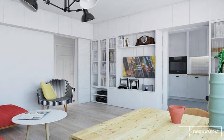Mieszkanie Warszawa Mokotów: styl , w kategorii Salon zaprojektowany przez Twój Kwadrat,
