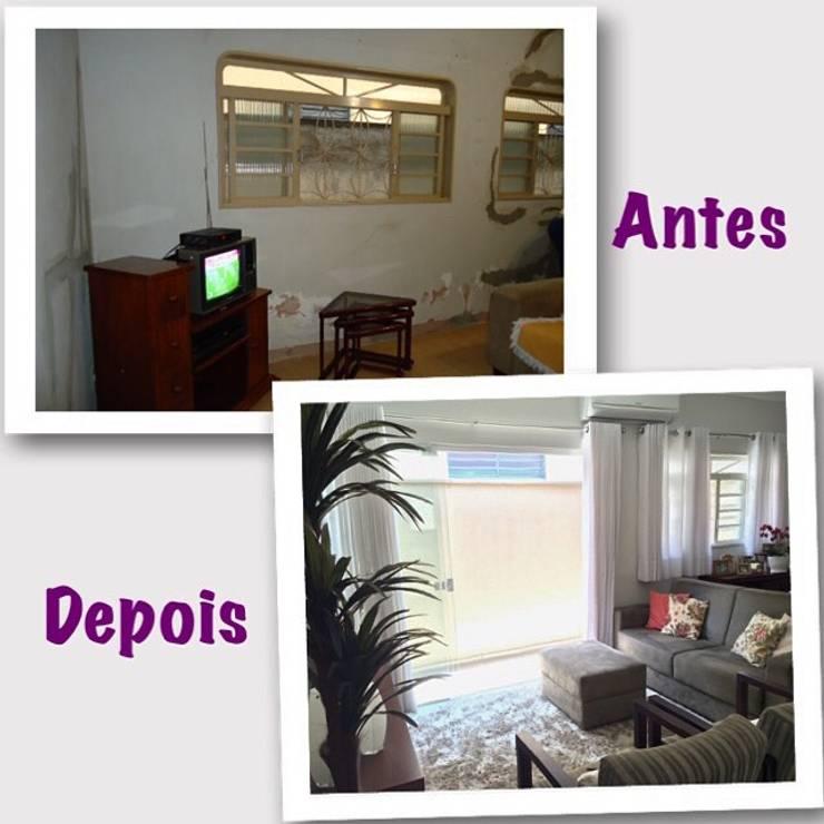 ANTES E DEPOIS (REFORMA HOME THEATER): Salas multimídia  por Vanessa Corleto