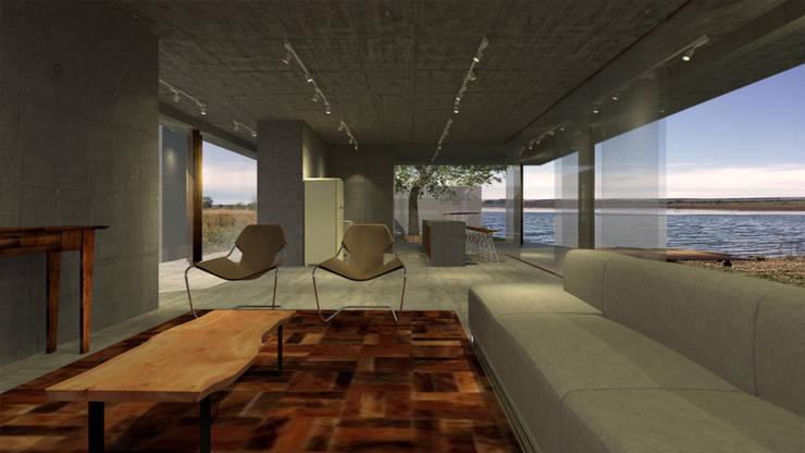 Casa RR: Salas de estar  por BORA Arquitetos Associados