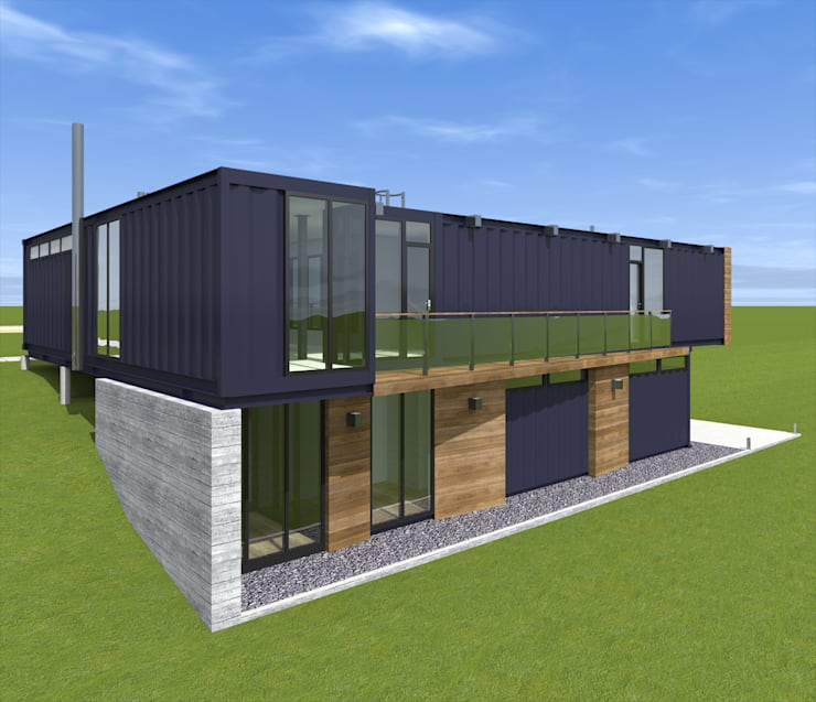 Дом-L из четырех морских контейнеров : Дома в . Автор – CHM architect