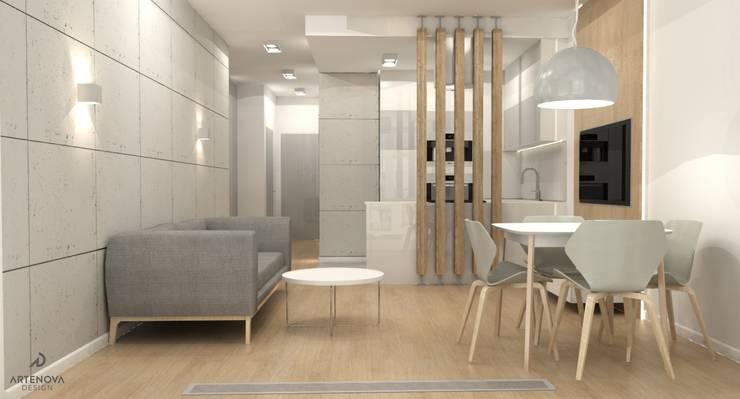 Minimalistyczne mieszkanie w Warszawie: styl , w kategorii Salon zaprojektowany przez Artenova Design
