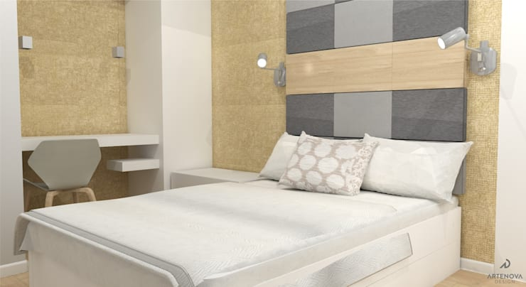 Minimalistyczne mieszkanie w Warszawie: styl , w kategorii Sypialnia zaprojektowany przez Artenova Design