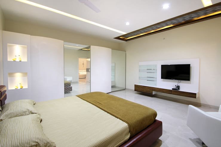 Flat:  Bedroom by NA ARCHITECTS,Modern