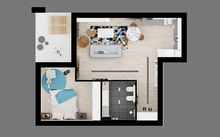 60m2 mieszkanie w Dąbrowie Górniczej: styl , w kategorii Taras zaprojektowany przez Ale design Grzegorz Grzywacz