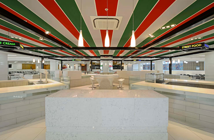Cafeterias for EON Free Zone :  Commercial Spaces by Aijaz Hakim Architect [AHA]
