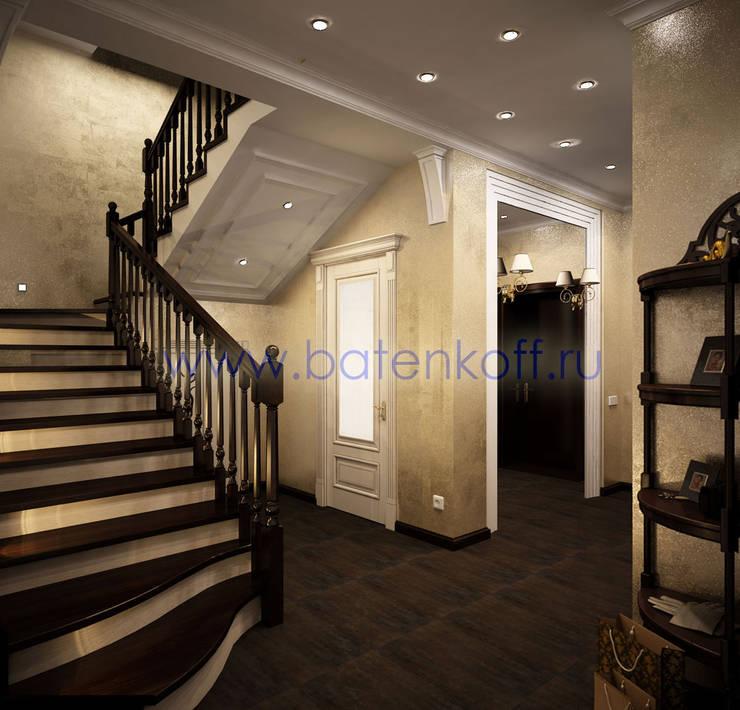 Дизайн проект холла и лестницы в классическом стиле от Батенькофф в таунхаусе. Поселок Палникс.: Коридор и прихожая в . Автор – Дизайн студия 'Дизайнер интерьера № 1'