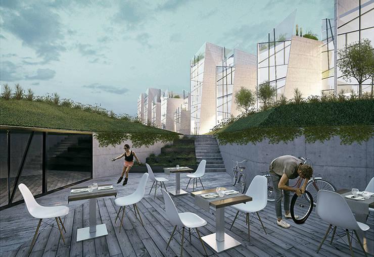 Render 4: Terrazas de estilo  por Proyecto Cafeina