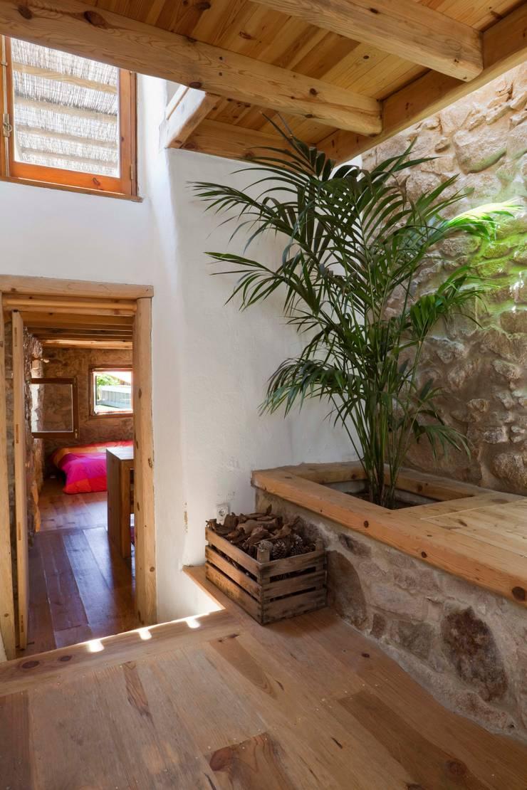Pasillos y vestíbulos de estilo  de pedro quintela studio, Rústico Piedra