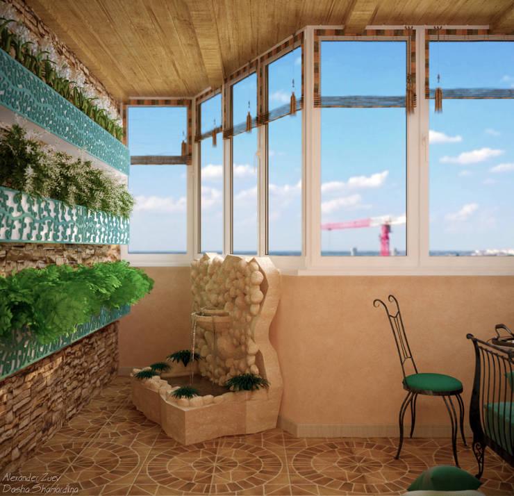 Дизайн балкона в среднеземноморском стиле по ул. Покрышкина: Tерраса в . Автор – Студия интерьерного дизайна happy.design