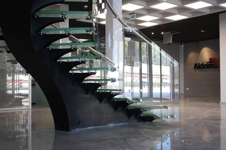 Visal Merdiven – Akkim Hollow Fibre ÜB – YALOVA:  tarz Koridor, Hol & Merdivenler