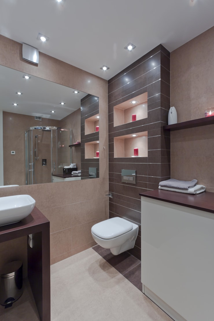 Praktyczna łazienka po remocie: styl , w kategorii Łazienka zaprojektowany przez ZAWICKA-ID Projektowanie wnętrz