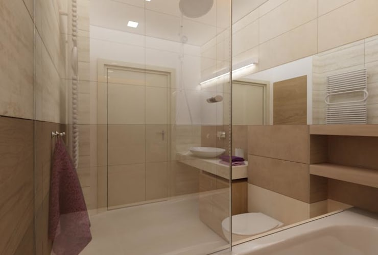 Nowoczesna łazienka w beżach: styl , w kategorii Łazienka zaprojektowany przez ZAWICKA-ID Projektowanie wnętrz