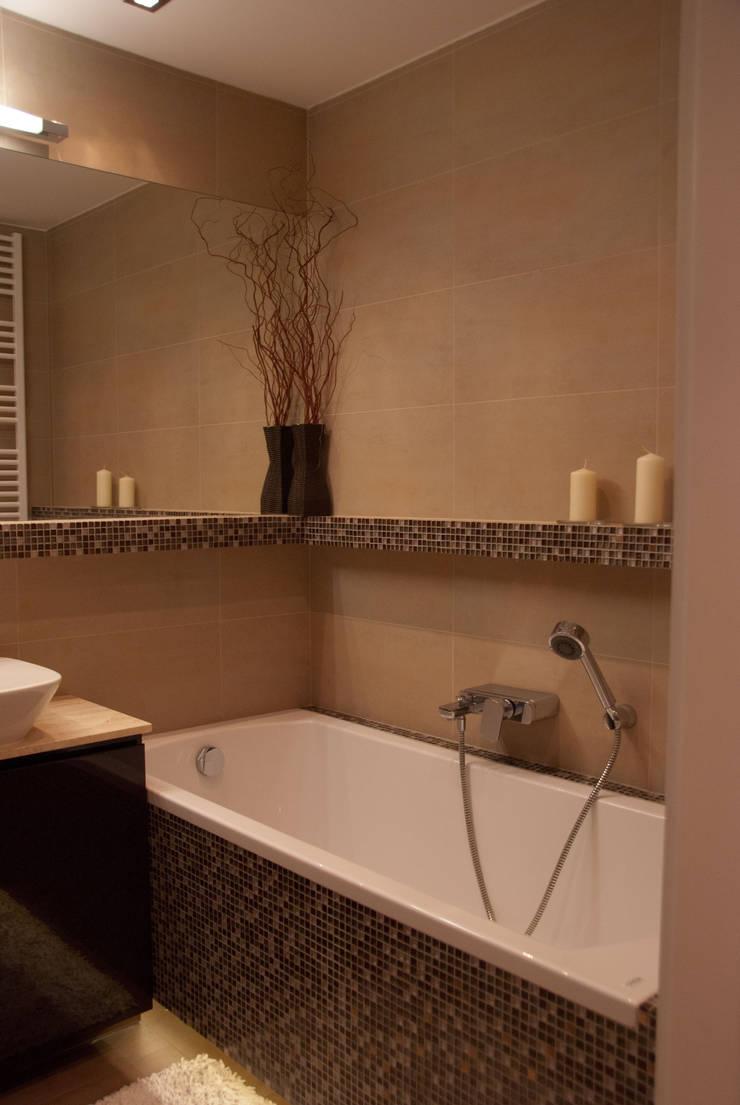 Łazienka w kolorach ziemi: styl , w kategorii Łazienka zaprojektowany przez ZAWICKA-ID Projektowanie wnętrz