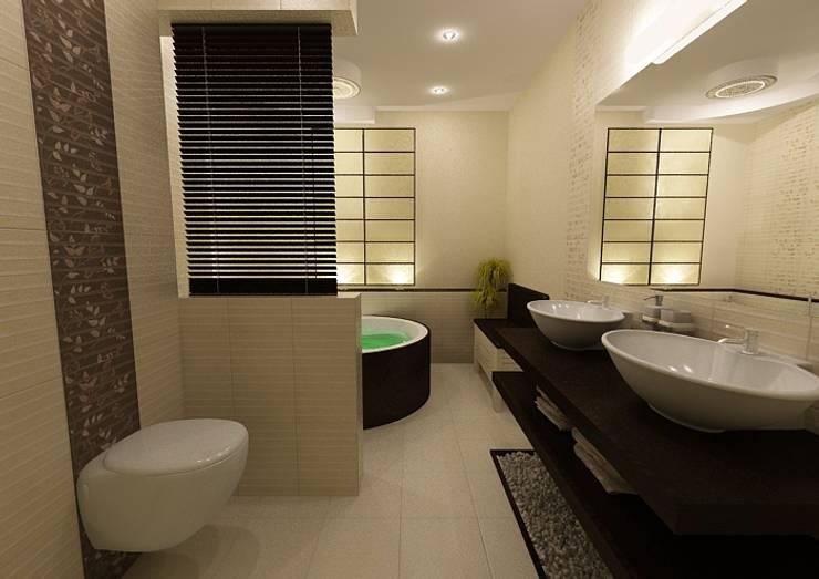 Łazienka w klimacie japońskim: styl , w kategorii Łazienka zaprojektowany przez ZAWICKA-ID Projektowanie wnętrz