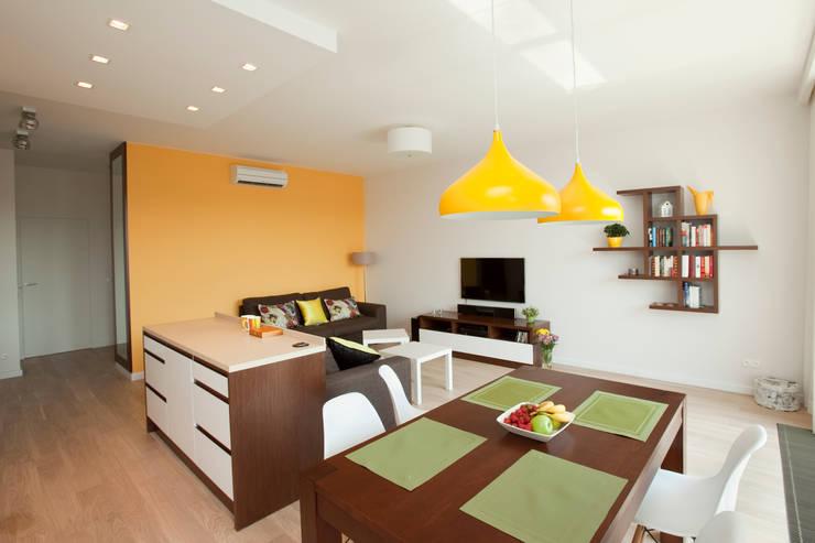 Salon z kuchnią: styl , w kategorii Salon zaprojektowany przez ZAWICKA-ID Projektowanie wnętrz,Nowoczesny