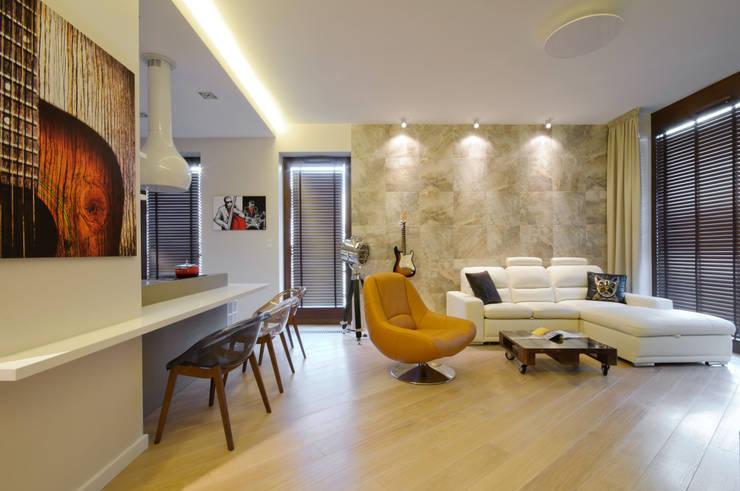 Salon dla miłośnika muzyki: styl , w kategorii Salon zaprojektowany przez ZAWICKA-ID Projektowanie wnętrz