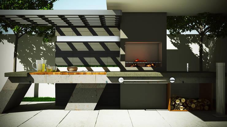 Asador Moderno: Jardines de estilo  por Modulor Arquitectura