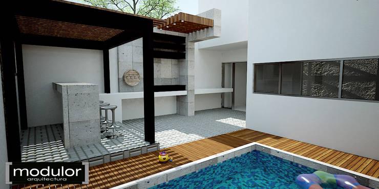 Casa GG: Terrazas de estilo  por Modulor Arquitectura