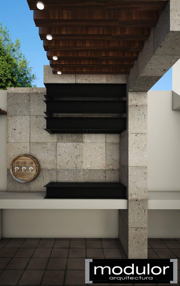 Area De Asador: Terrazas de estilo  por Modulor Arquitectura