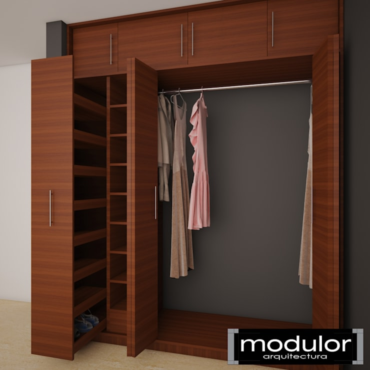 Closets Carrillo: Vestidores y closets de estilo  por Modulor Arquitectura