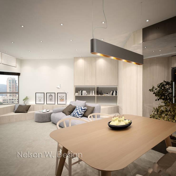A triangular reading corner: modern Living room by Nelson W Design