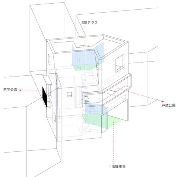 アクソメ: 有限会社角倉剛建築設計事務所が手掛けたです。