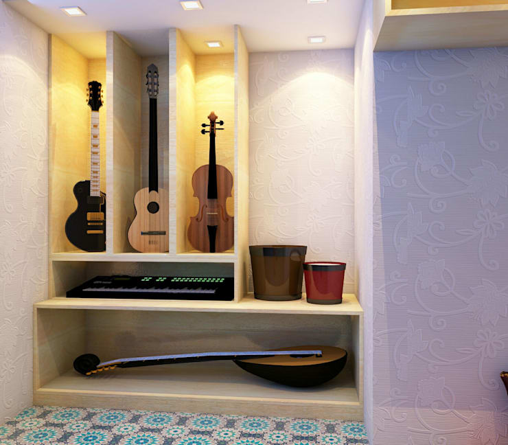 Music area in study room:   by Creazione Interiors