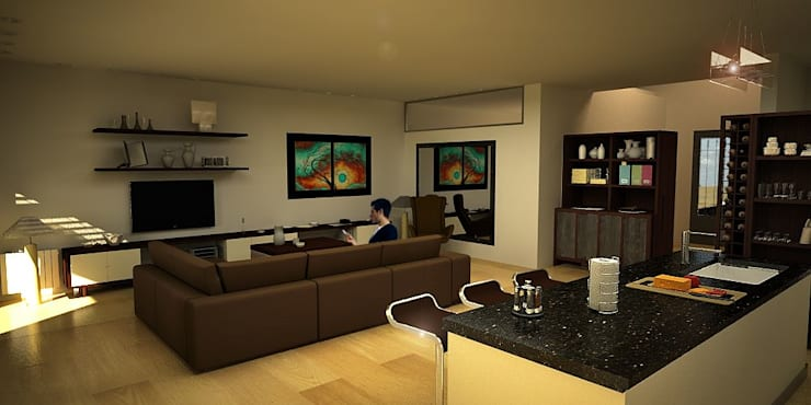 vivienda unifamiliar:  de estilo  por Renders M&M
