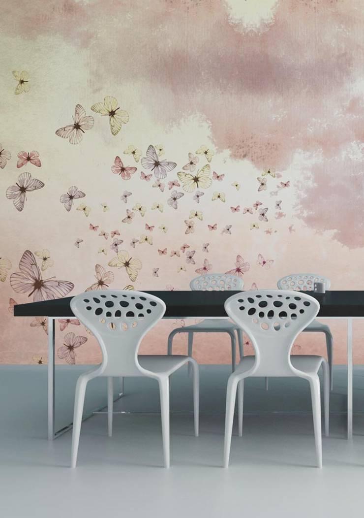 HF012-01-Butterflies-in-the-clouds: Lojas e espaços comerciais  por House Frame Wallpaper & Fabrics