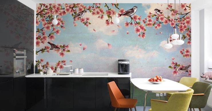 HF016-Birds-in-the-Branches: Lojas e espaços comerciais  por House Frame Wallpaper & Fabrics
