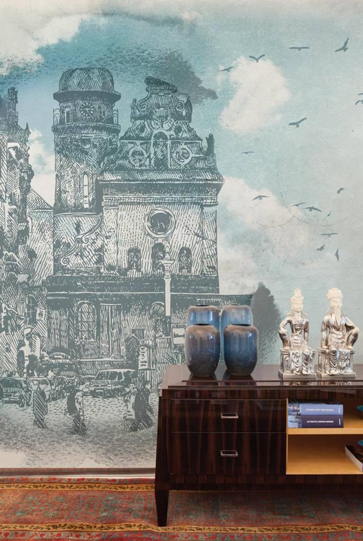 HF023-Birds-in-the-City: Lojas e espaços comerciais  por House Frame Wallpaper & Fabrics