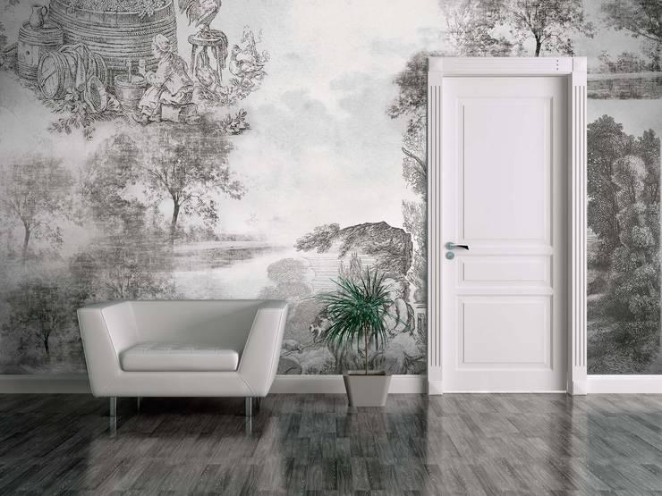 HF056-Old Illustration: Salas de estar  por House Frame Wallpaper & Fabrics