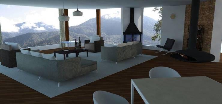 Casa Alpujarra: Salas de estilo  por Trianaarquitectos
