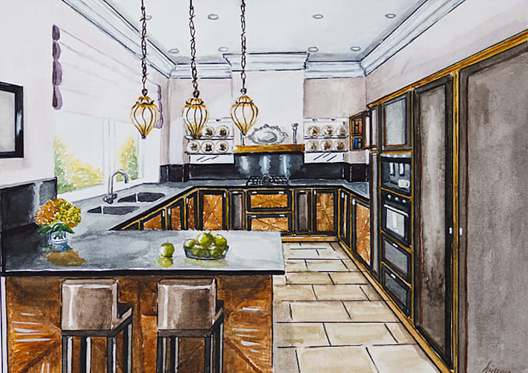 Eclectic style kitchen by Designer Olga Aysina Eclectic