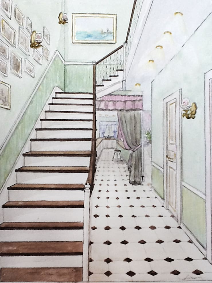 Eclectic style corridor, hallway & stairs by Designer Olga Aysina Eclectic