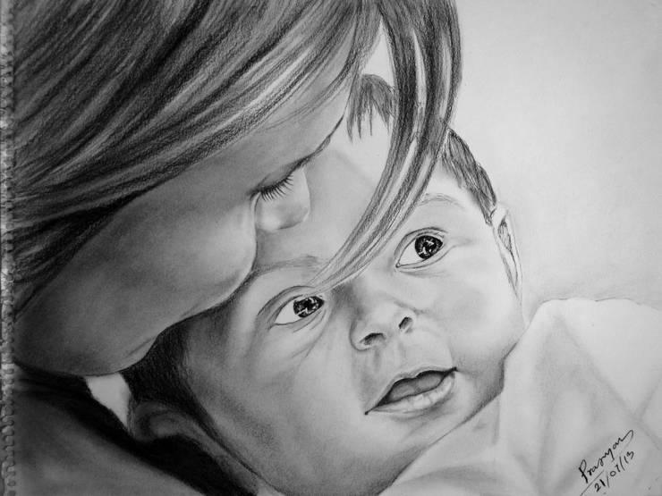 Mother's Love - Pragyan Kranti:  Artwork by Indian Art Ideas