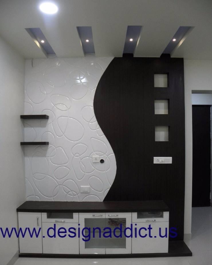 3BHK interior design in Pune: modern Living room by Designaddict