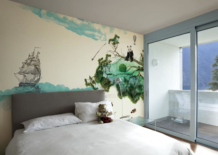HF005-Panda-Bear:   por House Frame Wallpaper & Fabrics