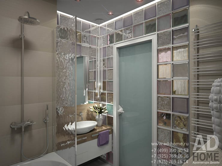 Современный дизайн интерьера,53 кв. м в ЖК Успенские горки: Ванные комнаты в . Автор – Ad-home