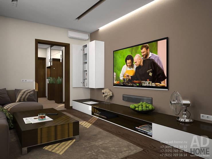 Дизайн интерьера двухкомнатной квартиры, 53 кв. м: Гостиная в . Автор – Ad-home