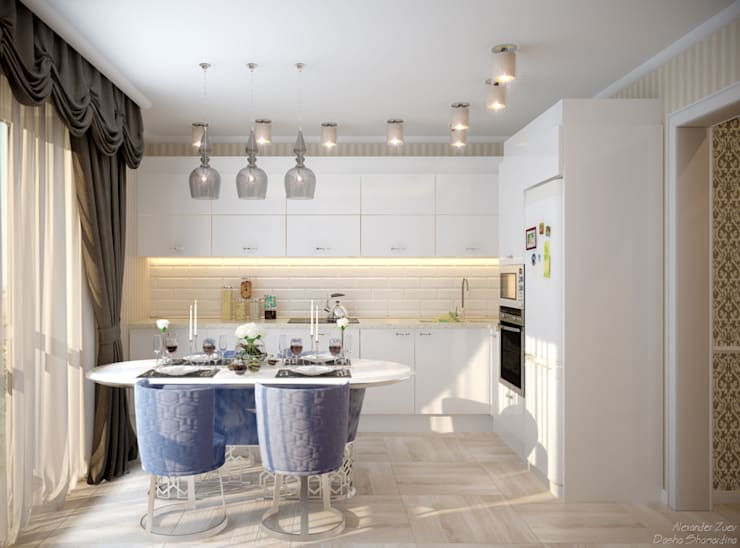 Дизайн кухни-гостиной в стиле неоклассика в пос. Краснодарский: Кухни в . Автор – Студия интерьерного дизайна happy.design