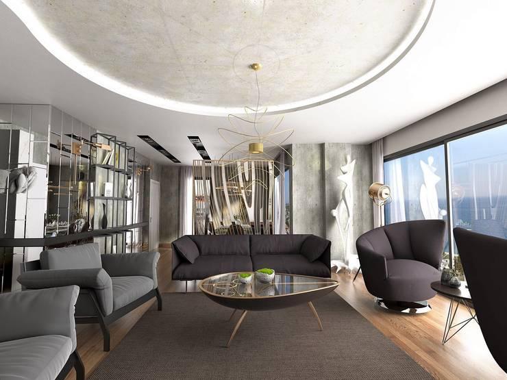 Murat Aksel Architecture – Suadiye rezidans:  tarz Oturma Odası