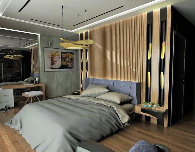 Murat Aksel Architecture – Suadiye rezidans: modern tarz Yatak Odası