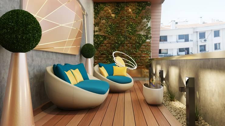 Murat Aksel Architecture – Suadiye rezidans: modern tarz Kış Bahçesi