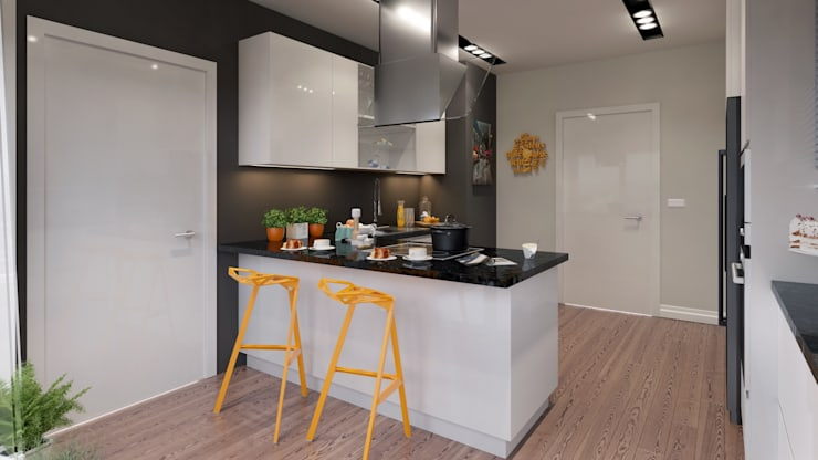 Murat Aksel Architecture – Suadiye rezidans: modern tarz Mutfak